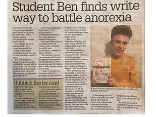 'Student Ben finds write way to battle anorexia'