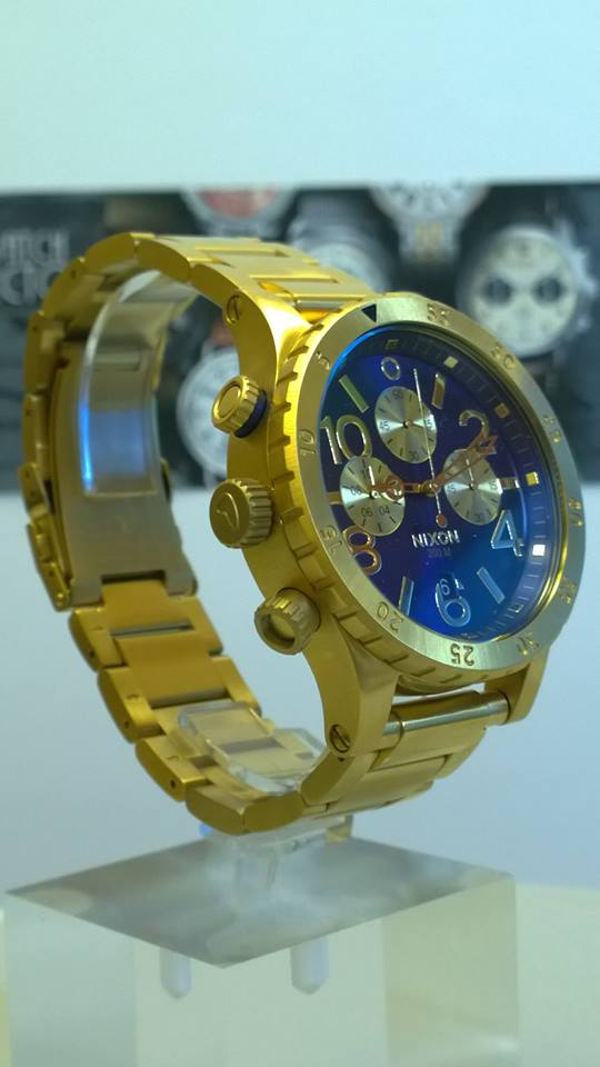 NIXON A486-1922 Mens Watch 48-20 CHRONO Gold Blue Sunray