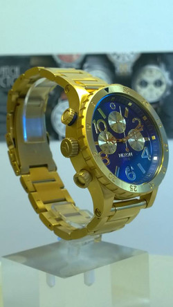 NIXON A486-1922 Mens Watch 48-20 CHRONO Gold Blue Sunray