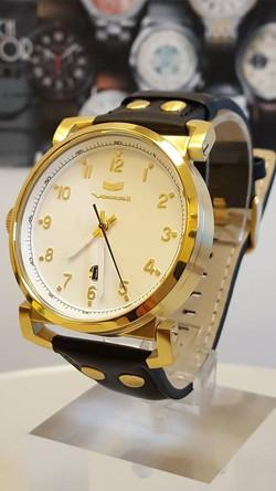 Vestal Observer Leather White Dial Black Leather Watch OB3L009