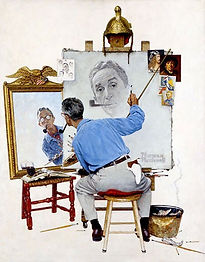 Triple-Self-Portrait-1960-Norman-Rockwel