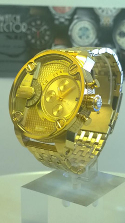 Diesel Little Daddy Dual Time Chronograph Gold-tone Dial Steel Me
