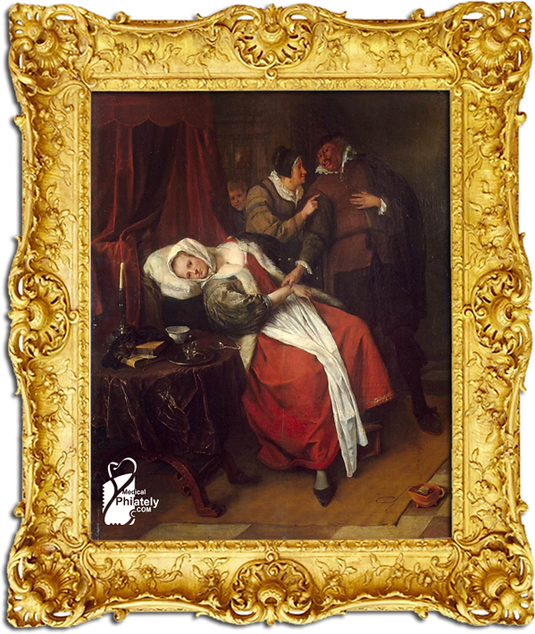 Medical Philately, www.medicalphilately.com, The ill woman Jan Steen.png