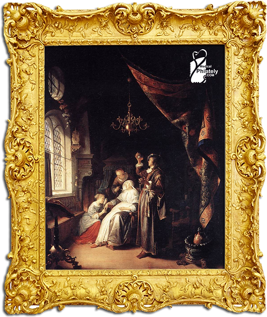 Medical Philately, www.medicalphilately.com, The Dropsy Woman by Gerard Dou frame.png