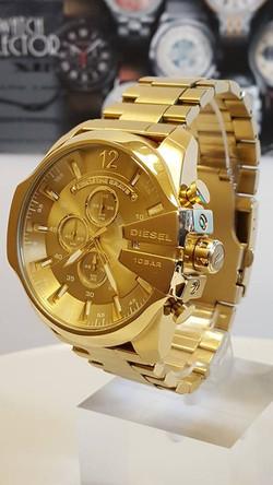 DIESEL Mega Chief Champange Gold-tone Men's Chronograph Watch