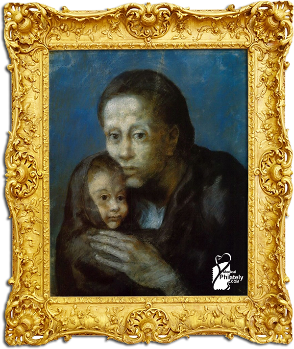 Medical Philately, www.medicalphilately.com, Mother and sick child by Pablo Picasso f
