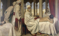 Albucasis (Al Zahrawi) blistering a patient in the Hospital at Cordova, 1100 AD