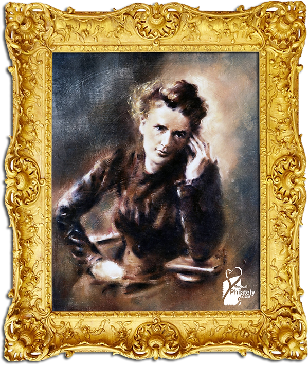 Medical Philately, www.medicalphilately.com, Portrait of Marie Curie Painting by Ritc