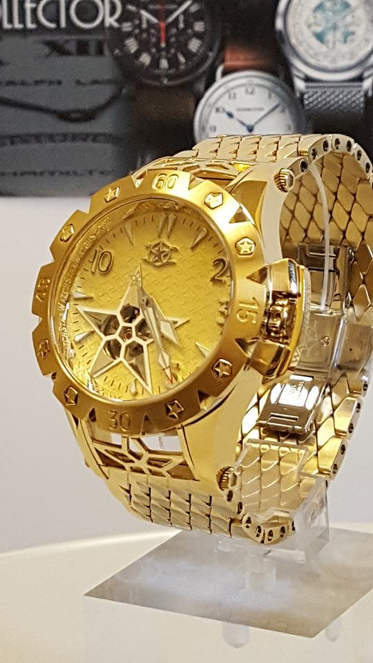 Watchstar American Star Open Heart Automatic Yellow Gold Tone Wat