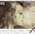 The Sick Child by Edvard Munch stamp 2 c