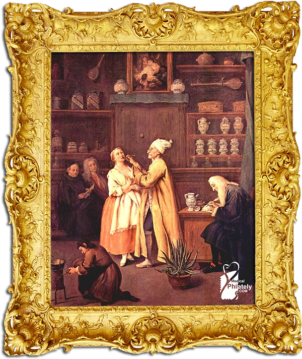 Medical Philately, postage, stamps, www.medicalphilately.com,The Apothecary by Pietro Longhi.png