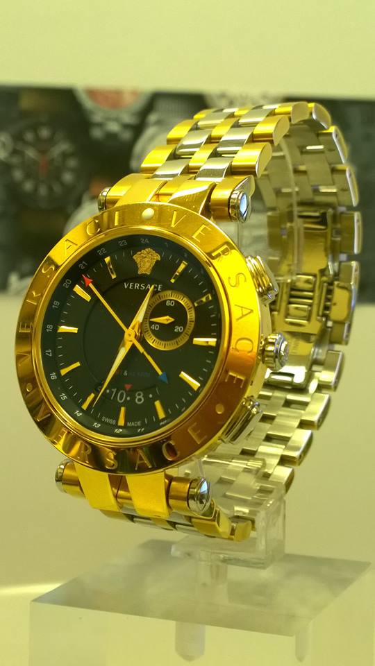 Versace Men's V-Race GMT Alarm Yellow Gold