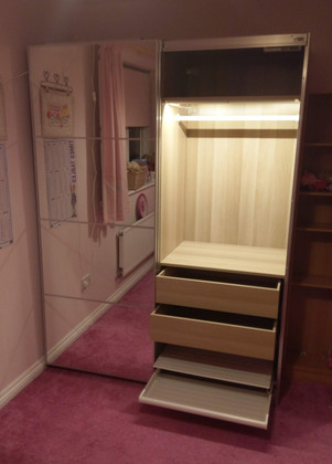 THE IKEA PAX WARDROBE WITH AULI DOORS AND AUTOMATIC LIGHTS - ASSEMBLED IN SWANSEA