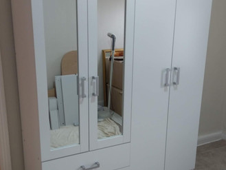 DUNELM CHARLES 4 DOOR 2 DRAWER MIRRORED WARDROBE - ASSEMBLED IN SWANSEA, BY FLAT PACK SWANSEA