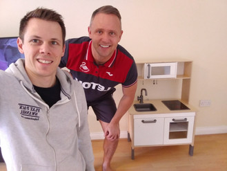 Assembling the Duktig Children's Kitchen from Ikea - with Lee Trundle, Swansea City Football Clu