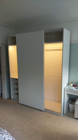 Ikea Pax Sliding Door Wardrobe with Lights - Assembled by Flat Pack Swansea