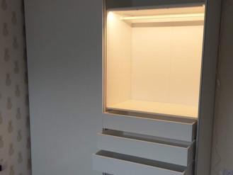 IKEA PAX WARDROBE WITH LIGHTS, DRAWERS AND SLIDING DOORS - ASSEMBLED BY FLAT PACK SWANSEA