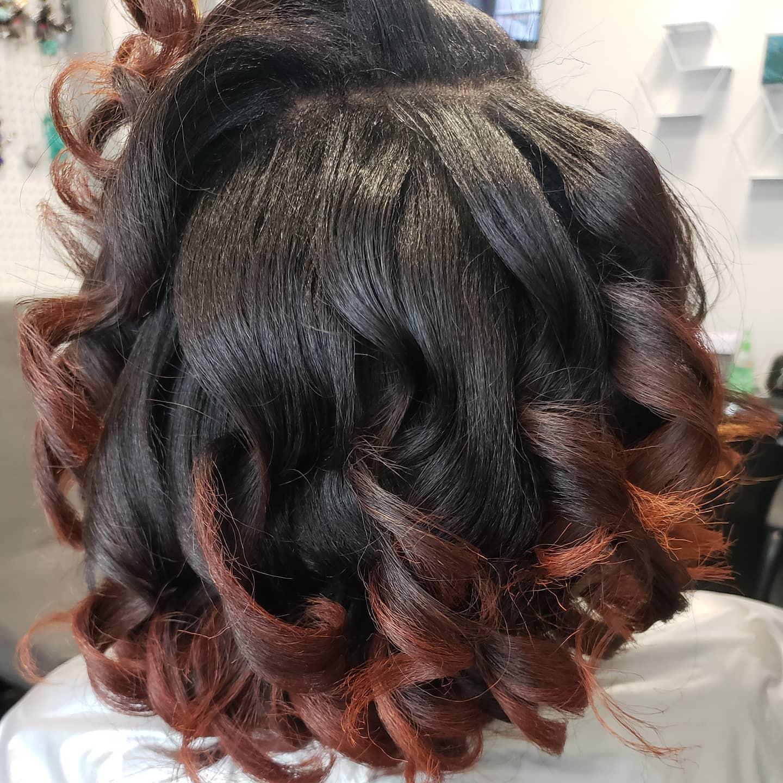 Shampoo, deep conditioner, trim, style