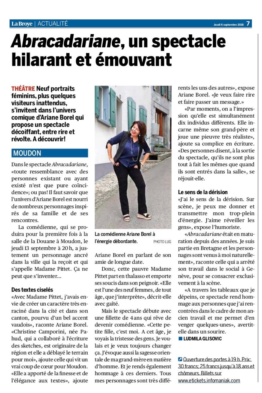 Article Abracadariane La Broye, Moudon