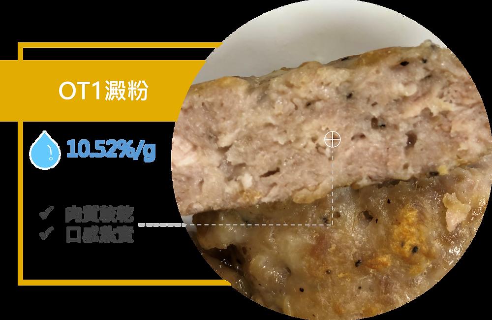 加OT1澱粉的肉排