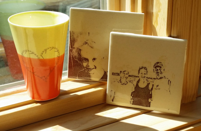 Laser printed ceramic decals - fired on porcelain cup (cone 10) and two earthenware (04) tiles