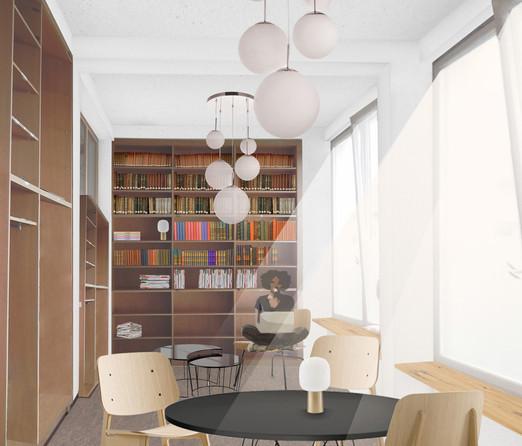 Bibliothek des Bürobaus