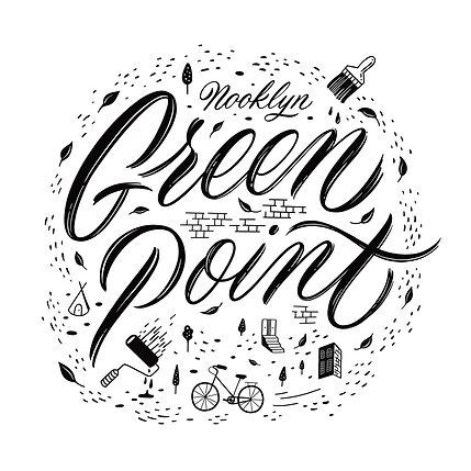 """Artwork consisting of funky script lettering that says """"Green Point"""", embellished with ill"""