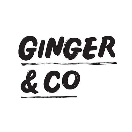 Logo design for Ginger & Co, featuring bold and textured block lettering