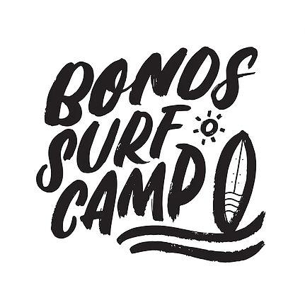 """Bold lettering design that says """"Bonds Surf Camp"""""""