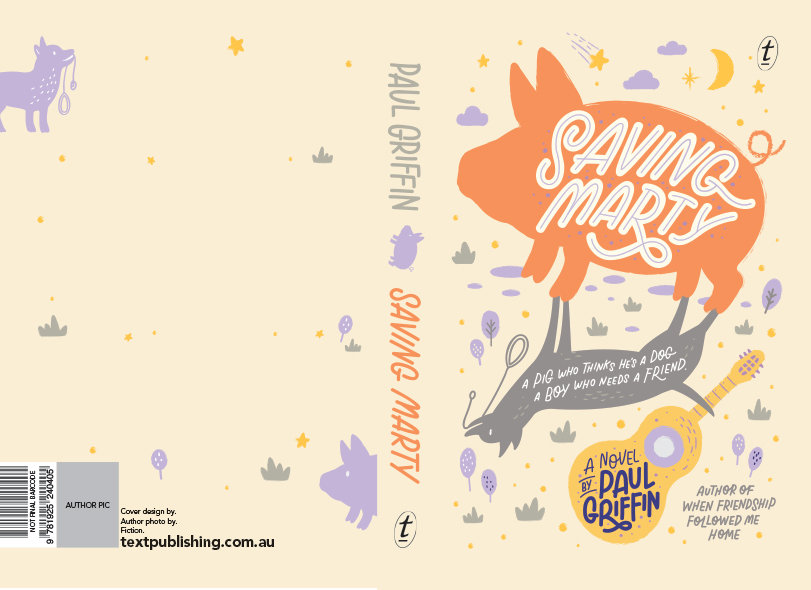 A colourful children's book cover design of a book called Saving Marty, containing an illu