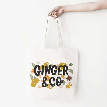 A branded tote bag design featuring the brand Ginger & Co