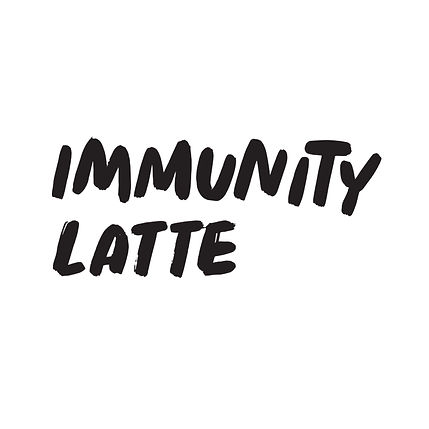 The words _Immunity Latte_ in bold lettering
