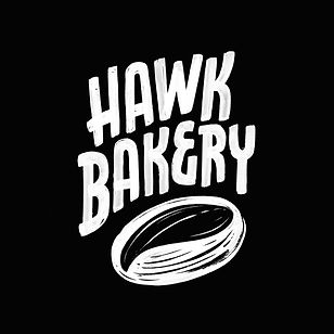 Logo design for Hawk Bakery, featuring bold textured lettering and an illustration of sour