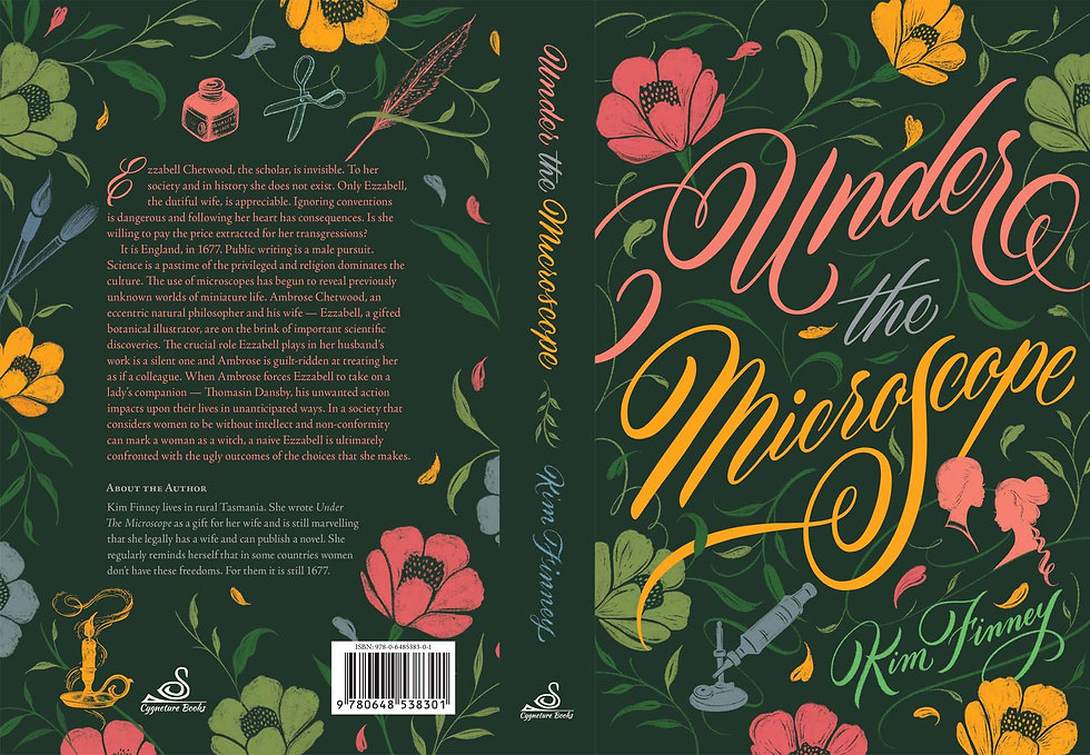 Book cover design for a book called Under the Microscope, containing elegant script letter