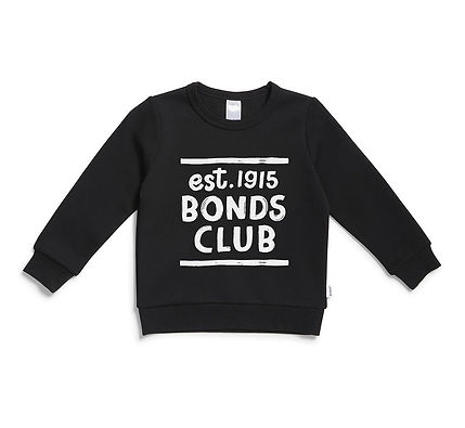 """Trendy children's jumper in black with bold hand-lettered text design that says """"est 1915"""