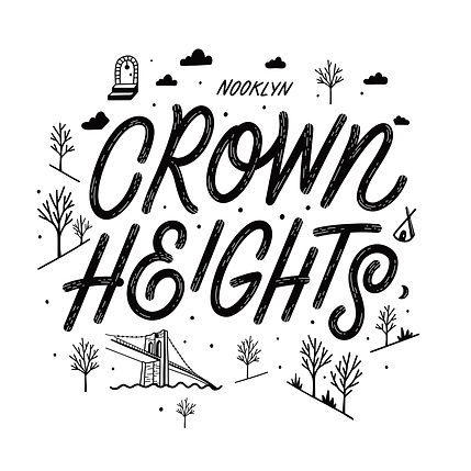 """Artwork consisting of funky script lettering that says """"Crown Heights"""" , embellished with"""