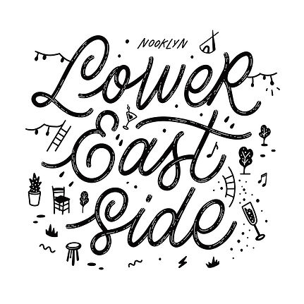 """Artwork consisting of funky script lettering that says """"Lower East Side"""", inspired by New"""