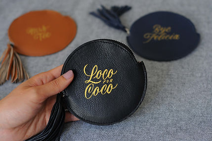"""Leather pouch hand-painted with golden elegant script lettering, with the words """"Loco for"""