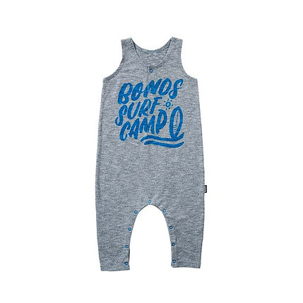 """Grey baby onesie with blue coloured lettering that says """"Bonds Surf Camp"""""""