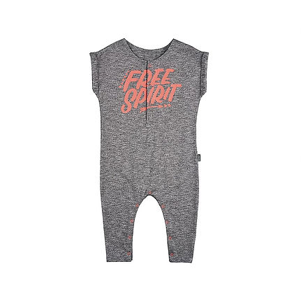 """Grey baby onesie with peach coloured lettering that says """" Free Spirit"""""""