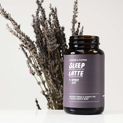 A purple bottle containing herbal latte mix called Sleep Latte