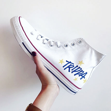 """Customised Converse shoe with the name """"Trippa"""" hand written in edgy street-style capital"""