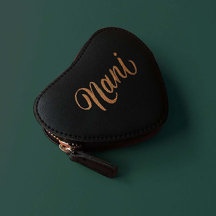 Hand painted women's pouch with the name _Nani_ in gold, elegant script lettering