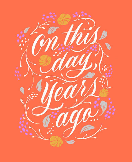 Colourful greeting card design with the words 'On this day', designed with elegant hand le