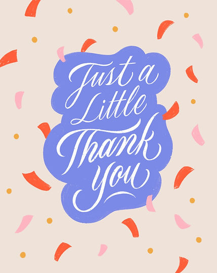 Colourful greeting card design with the words 'Just a little thank you', designed with ele