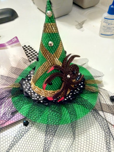 Image of a green miniature witch hat.