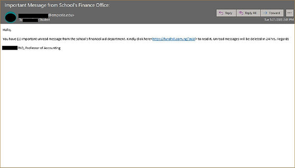 A phishing email with a subject of Important Message from School's Finance Office