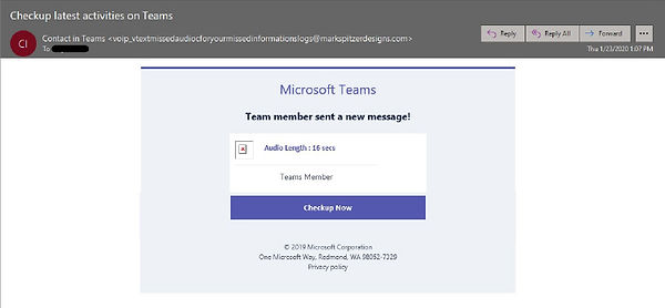 A Microsoft Teams email that is really a phishing attempt.
