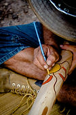 Eckybow Painting a Didgeridoo at Didgeridoo Shop Brisbane Australia