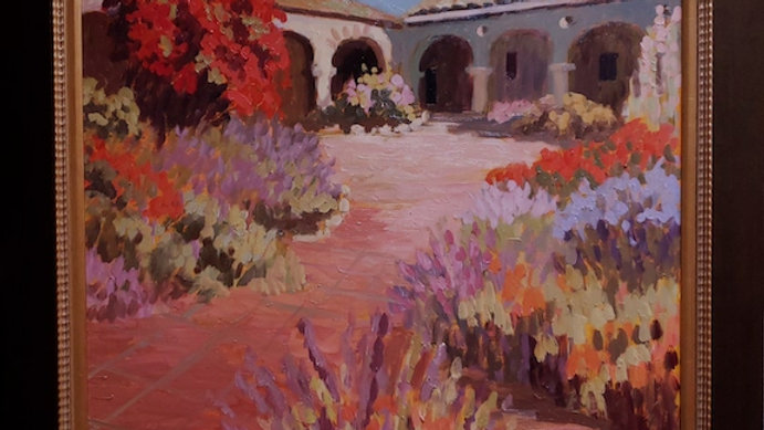 Mission Courtyard in Morning Light SOLD
